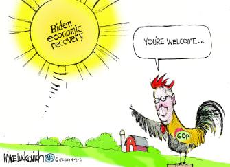 Political Cartoon U.S. biden mcconnell economy