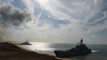 Russian navy ships practice military exercises in the Black Sea.