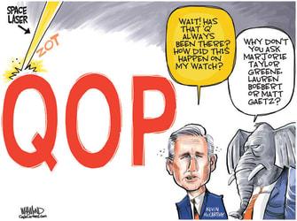 Political Cartoon U.S. kevin mccarthy gop qanon