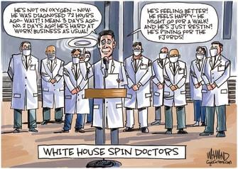 Political Cartoon U.S. Trump COVID doctors spin