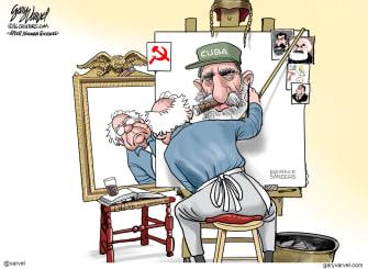 Political Cartoon U.S. Bernie Fidel Castro Cuba communism portrait