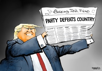 Political Cartoon U.S. Trump GOP Senate impeachment acquittal party over country
