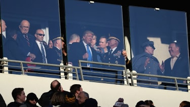 Donald Trump watches the Army-Navy game