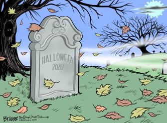 Editorial Cartoon U.S. Halloween COVID