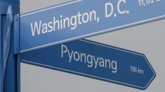 A signpost showing the directions and distances from Seoul to Washington and Pyongyang.