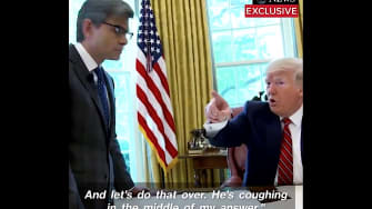Trump stops interview because chief of staff is coughing