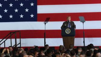 President Trump addressing U.S. soldiers.