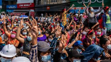 Protest in Yangon, Myanmar.