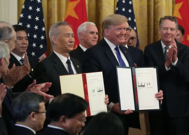 Donald Trump and Liu He.