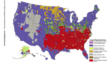 These maps show the most common religions, Christian and non-Christian, in your state