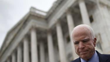 Senator John McCain outside the Capitol