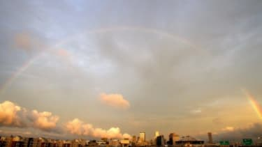 A rainbow stretches over New Orleans during the 5th Anniversary of Hurricane Katrina on August 29, 2010.