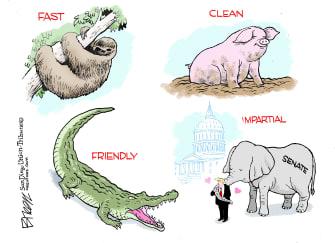 Political Cartoon U.S. Trump Impeachment trial GOP animals