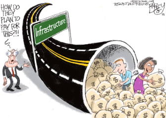 Political Cartoon U.S. infrastructure plan mitch mcconnell
