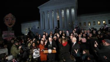 Democratic leaders outside the Supreme Court Monday.