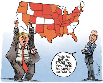 Political Cartoon U.S. Trump Biden 2020 map