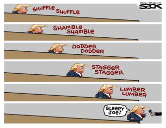 Political Cartoon U.S. Trump ramp Sleepy Joe Biden