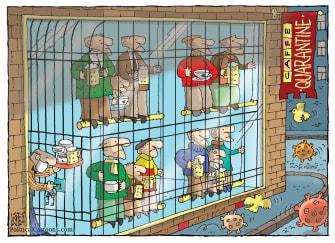 Editorial Cartoon World Coronavirus COVID-19 quarantine businesses birdcage