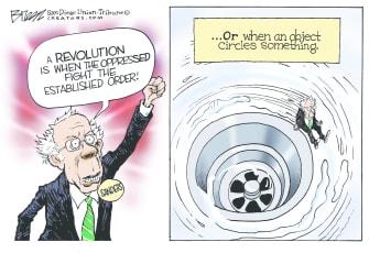 Political Cartoon U.S. Sanders revolution 2020 election down the drain