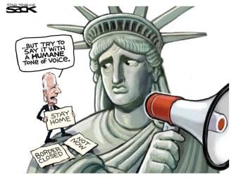 Political Cartoon U.S. biden migrant surge statue of liberty