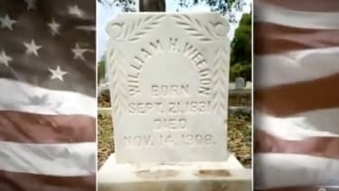 A gravestone cleaned by Andrew Lumish.