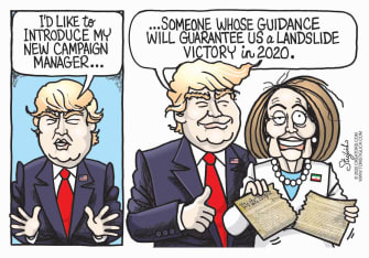 Political Cartoon U.S. Pelosi Trump 2020 re-election