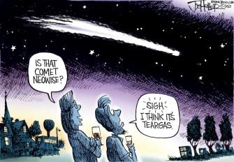 Editorial Cartoon U.S. comet neowise tear gas Portland