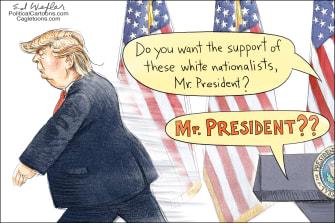 Political cartoon U.S. Trump response white nationalist Charlottesville protests