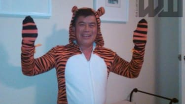 Rep. David Wu (D-Ore.), inexplicably outfitted in a tiger suit, in a photo he distributed via email prior to the November 2010 election. His advisers reportedly staged interventions regarding