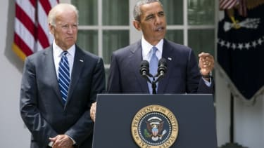 President Barack Obama is joined by Vice President Joe Biden as he delivers a statement on Syria in the Rose Garden of the White House on August 31.