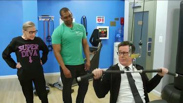 Ruth Bader Ginsburn laughs at Stephen Colbert