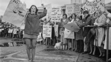 Women demonstrate for equal pay in London in 1969.