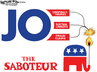 Political Cartoon U.S. Trump Biden election sabotage
