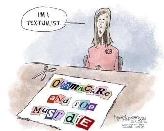 Political Cartoon U.S. Amy Coney Barrett Roe ObamaCare