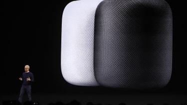 The HomePod speaker on display
