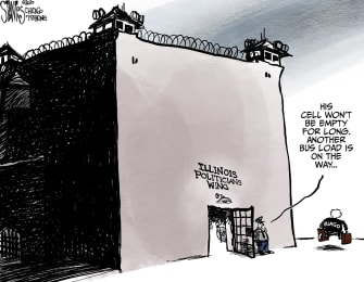 Political Cartoon U.S. Trump Rod Blagojevich Illinois politicians corruption jail cell