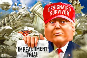 Political Cartoon U.S. Trump designated survivor impeachment trial