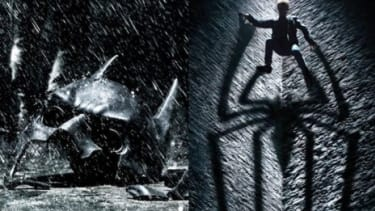 """Batman's broken mask is seen in part of a new poster for """"The Dark Knight Rises"""": The promotional image was released within hours of new art for """"The Amazing Spider-Man."""""""