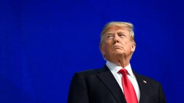 President Trump before a speech