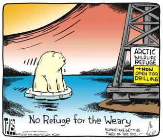 Editorial Cartoon U.S. Arctic Wildlife Refuge drilling