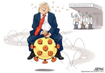Political Cartoon U.S. COVID Trump hospital release