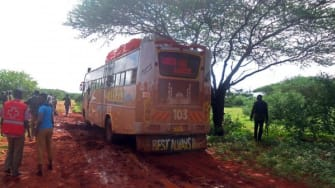 The bus that was attacked in Mandera, Kenya.