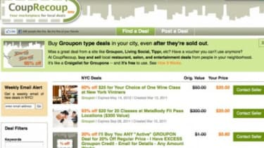 CoupRecoup is just one in a series of websites catering to those who purchased Groupon-like deals and can't use them.