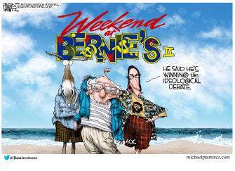 Political Cartoon U.S. Weekend at Bernies winning debate Florida