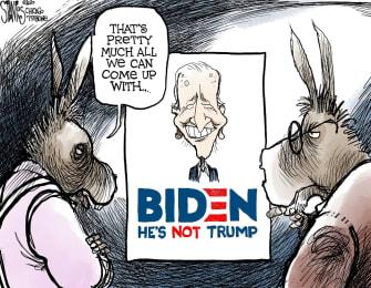 Political Cartoon U.S. Trump Joe Biden Democrats democratic primaries presidential election voters