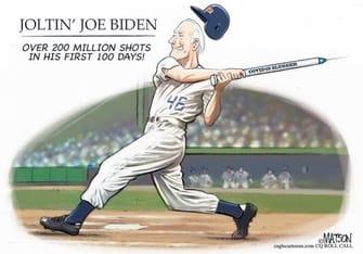 Political Cartoon U.S. biden covid vaccines joe dimaggio