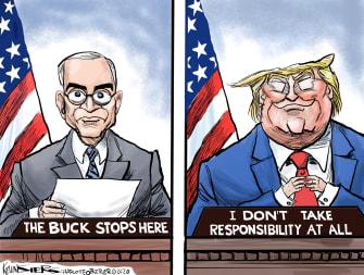 Political Cartoon U.S Trump Truman Buck stops here coronavirus