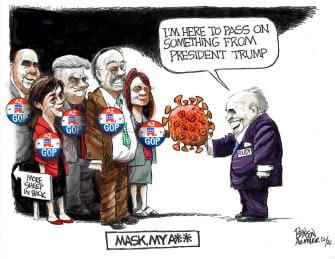 Political Cartoon U.S. Giuliani Trump Arizona COVID
