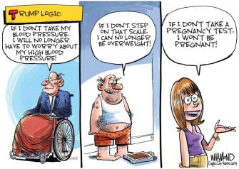 Editorial Cartoon U.S. Trump logic coronavirus tests