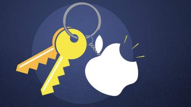 An Apple keychain.